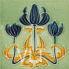Art Nouveau Reproduction Tile #118, from Villa Lagoon Tile