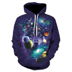 Galaxy Wolf 3D Printed Hoodie - Yellow Monkey Clothing Male And Female Animals, 3 D, Streetwear Hats, Wolf 3d, Galaxy Wolf, Galaxy Sweatshirt, Wolf Hoodie, Wolf Design, Hoodies For Sale