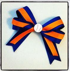 Softball Team Hair Bow  Orange and Blue by whnNdoubtPUTaBOWonIT, $8.00