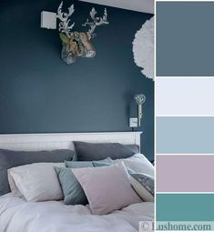 Grayish blue and bluish gray color tones set a soothing atmosphere in rooms and create beautiful, modern color schemes with whites, warm purple, and turquoise-green colors Grey Colour Scheme Bedroom, Room Color Design, Bedroom Design, Living Room Diy, Bedroom Green, Modern Bedroom, Blue Bedroom, Bedroom Colors, Bedroom Color Schemes