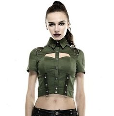 rebels market--Gothic Goth Rock Steampunk Green Police Or Military Uniform Top Shirt