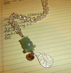 Silver and Jasper Stone Owl Charm Necklace by OnlyOriginalsByAJ, $18.00