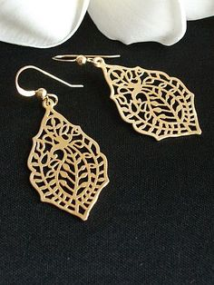 Free Shipping IndiaGolden Paisley Earrings Bohemian by AnnTig, $19.00
