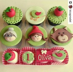 Doces Chapeuzinho Vermelho 4th Birthday Parties, Birthday Party Decorations, Girl Birthday, Cupcake Toppers, Cupcake Cakes, Red Riding Hood Party, Little Red Ridding Hood, Cute Food, Mini Cakes