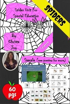 Spider Science Unit for Special Education.  This is a science unit that is designed for students with disabilities, especially autism. The material is designed to be engaging and accessible to many different learning levels. There are over 60 pages of material, including books, activities, and assessments. Your students are sure to love this unit!!  Download at:  https://www.teacherspayteachers.com/Product/Spider-Unit-for-Special-Education-2085436