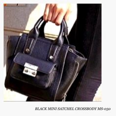 New! Black MS-050 Mini Satchel Crossbody Handbag PLEASE READ FULL DESCRIPTION! $39 ON SALE! Mini Satchel Cross body Handbag in Black.  (STYLE MS-050). • BAG IS NOT 3.1 Phillip Lim for Target • although it looks similar to it. This bag is just 1 inch wider in size and materials used are different. The bag has stylish and functional front gusset and expandable side zippers. Bag is Faux pebbled Leather comes with detachable Crossbody strap and it's own dustbag, Perfect everything mini tote…