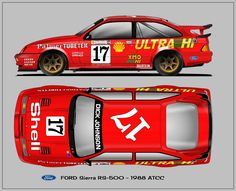 Ford Sierra RS-500 ATCC 1988 Car Ford, Ford Gt, Car Prints, Blue Prints, Ford Motorsport, Old American Cars, Ford Sierra, Classic Race Cars, Ford Capri