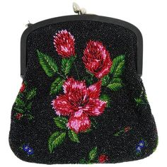1950s PIROVANO Italian Couture Floral Embroidered Beadeds Purse Handbag | From a collection of rare vintage evening bags and minaudières