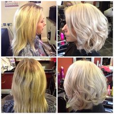 Before and after long highlights into full head bleach ash blonde waves bob