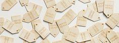 Drewniane tagi zrobione przez enode studio / Wooden tags make by enode studio Wooden Tags, Under Construction, Cheese, Studio, Studios