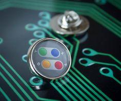 Nintendo SNES Buttons Lapel/Tie Pin Badge by UnofficiallyOriginal
