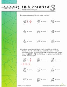 Fourth Grade Fractions Worksheets: Skill Practice 3: Simplifying Fractions