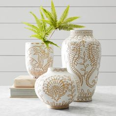 We partnered with lifestyle expert Aerin Lauder to create exclusive home decor that reflects her signature style. Inspired by her philosophy that living beautifully should be effortless, this terracotta vase is made by hand with intricate carvings… Beach Chic Decor, Home Decor Vases, Pottery Sculpture, Crystal Vase, Perfect Gift For Mom, Ginger Jars, Pottery Painting, Ceramic Vase, Flower Vases
