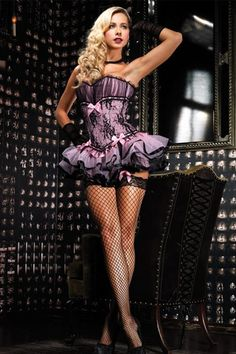 """Burlesque style black & pink """"Karina"""" corset with tulle tutu & lace overlay from Ami Club."""