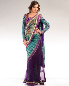 #Turquoise Purple Lengha #Sari - Exclusively In  #gold  $249    Want 10% OFF?!? Use my link!!  http://exclusively.in/invite/animefreak720