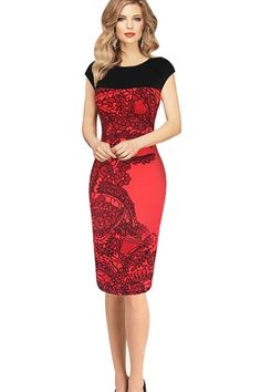 1e8c7f1b439 2015 Autumn Winter Dress Women Pinup Red Sheath Fitted Bodycon Dress  Business Work Pencil Dress Plus Size Drop Shipping 41