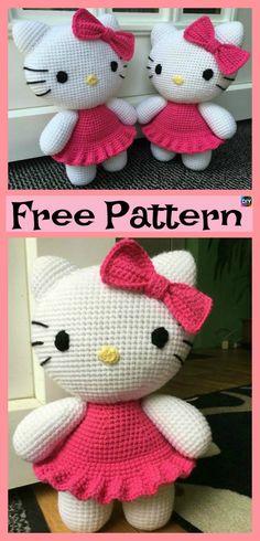 Adorable Crochet Hello Kitty – Free Pattern #freecrochetpatterns #hellokitty #toys #gifeidea