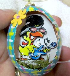 Elvis the Duck Real chicken egg with cute 3D scene inside