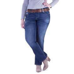 Juniors' Plus Size Amethyst Baby Bootcut Jeans, Teens, Size: 20W Short, Dark Blue