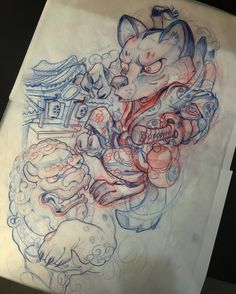 Japanese Tattoo Art, Japanese Tattoo Designs, Corgi Wallpaper, Thigh Piece Tattoos, Japan Tattoo Design, Mythology Tattoos, Graffiti Characters, Oriental Tattoo, Drawing Studies