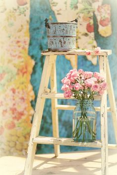 Chic shabby ladder as plant stand for cottage house, home decor style; Upcycle, recycle, salvage, diy, repurpose!  For ideas and goods shop at Estate ReSale & ReDesign, Bonita Springs, FL
