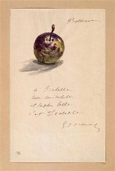 """Édouard Manet (1832-1883) - """"Lettre à Isabelle Lemonnier décorée d'une mirabelle"""" - Aquarelle, encre grise, plume (dessin) - http://www.photo.rmn.fr/C.aspx?VP3=SearchResult&VBID=2CO5PC7WYJZVC&SMLS=1&RW=1366&RH=659#/SearchResult&VBID=2CO5PC7WYJZVC&SMLS=1&RW=1366&RH=659&PN=1"""