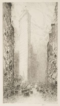 Childe Hassam, Washington's Birthday--Fifth Avenue at 23rd Street 1916 Etching 12 15/16 X 6 15/16 in 32.9 X 17.6 cm Museum of Fine Arts, Houston The Museum of Fine Arts, Houston, museum purchase with funds provided by the Long Endowment for American Art and Mr. and Mrs. Meredith Long 2000.199