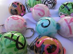Initial Wooden Ball Keychains Key Fobs or Key rings
