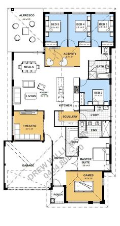 Looking for a 5 bedroom floor plan? Well this one might suit! You've got 4 bedrooms close together on the back of the home which share a bathroom and an activity room. I'd be looking at making that bathroom bigger. 5 Bedroom House Plans, Family House Plans, New House Plans, Dream House Plans, Small House Plans, House Floor Plans, House Layout Plans, House Layouts, Home Design Floor Plans