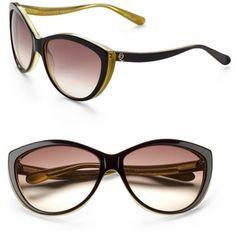 Alexander McQueen Two-Tone Plastic Cat's-Eye Sunglasses