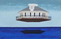 Casa voladora. 17x43 (+ marco Imac). Acrílico sobre madera dentro de Imac.