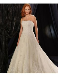 Satin Strapless Slightly Curved Neckline A-line Wedding Dress