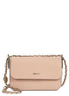 DKNY blush pink�saffiano leather cross-body bag Chain shoulder strap, designer plaque, detachable designer tag, one internal pocket, printed lining Concealed magnetic fastening at flap front Comes with a dust bag