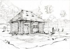 Drawings by Adelina Popescu, via Behance Architecture Drawing Plan, Architecture Drawing Sketchbooks, Architecture Design, Interior Design Sketches, Log Cabin Homes, Cool Sketches, Traditional House, Behance, Drawings