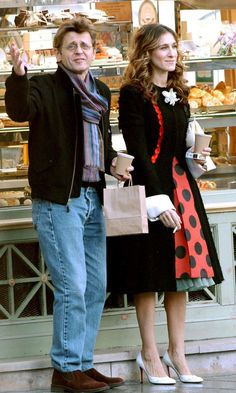 Carrie Bradshaw Wearing A Balenciaga Dress, Christian Louboutin Heels And A Christian Lacroix Coat With Alexander Petrovsky, 2003