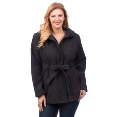 Fourteen Zero Women's Plus Size Belted Trench Coat w/ Hood >>> Hurry! Check out this great product : Plus size coats Vest Jacket, Hooded Jacket, Plus Size Trench Coat, Plus Size Belts, Plus Size Women, Fashion Brands, Jackets, Shopping, Clothes