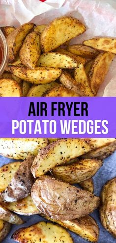 Light and crispy air fryer potato wedges are a great alternative to frozen store bought french fries and are ready in 12 minutes! Air Fryer Recipes Potatoes, Air Fry Potatoes, Air Fryer Dinner Recipes, Air Fryer Recipes Easy, Cheesy Potatoes, Baked Potatoes, Air Fryer Fries, Air Fryer French Fries, Air Fryer Steak