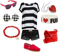 Cute black and red casual, created by krista-creeech on Polyvore