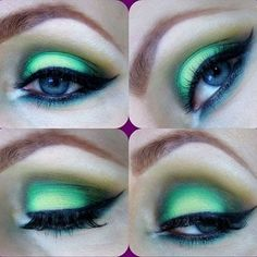 This eye makeup uses green, light brown, and white eye shadow colors to create a cut crease. See product details here to DIY this night out look.
