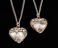 Matching hearts broken china jewelry plate pendants set of two black white floral toile