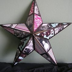 Photo Star Tutorial    I have made some of these metal starts with scrapbook paper, but never thought of adding photos.  This would be a terrific gift for grandparents or a fun gift to send to college with your new graduate.