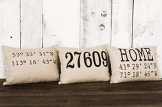 """Housewarming gift pillow, """"The Zip Code Coordinates"""" name zip code pillow, wedding, moving, personal Diy Pillow Covers, Diy Pillows, Decorative Pillows, Throw Pillows, Pillow Ideas, Lumbar Pillow, Pillow Fabric, College Room, Dorm Room"""