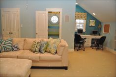 the wall color is : gossamer blue by benjamin moore.  the darker niche is painted: wilmington spruce by benjamin moore