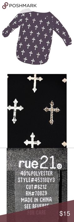 Rue 21 3/4 Sleeve Cross Shirt 3/4 Sleeve Cross Shirt from Rue 21; Black with White Crosses - Alternating Distressed and Gold Rhinestone Embellished Crosses Pattern; Size XL; 60% Cotton, 40% Polyester; Gently Worn Rue 21 Tops Tees - Long Sleeve