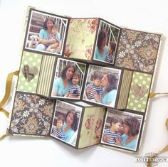 A 'Legacy' Tri-Fold Mini Album - papers used are from the 'Legacy' collection by Authentique Tri Fold Cards, Fancy Fold Cards, Folded Cards, Scrapbooking Mini Album, Scrapbook Paper, Mini Scrapbooks, Mini Albums Scrap, Mini Album Tutorial, Handmade Books
