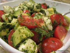 Mexican Caprese: tomatoes, mozzarella, avocado in a cilantro pesto made with avocado oil