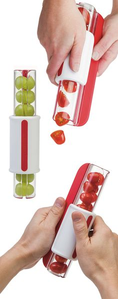 Zip slicer // Dicing in a single motion, this slicer perfectly prepares fruits and veggies for bite-size snacks
