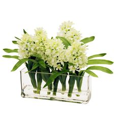 Features: -Realistic. -Looks like fresh flowers. -Convenient size. Product Type: -Floral Arrangements. Size: -Medium. Flower: -Hyacinths. Container Finish: -Clear. Dimensions: Overall Height -