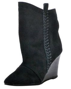 "Charles by Charles David Women's ""Naya"" Wedge Booties – $129.00 Bon-Ton. Today's the last day to build your BLACK AND WHITE WITH A POP! closet at BattleShop.co, so why not channel your inner Elsa and put an icy blue hue on your look? www.BattleShop.co"