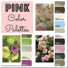 How to add some pretty pink color to your room! Pink Color Palettes - Setting for Four.